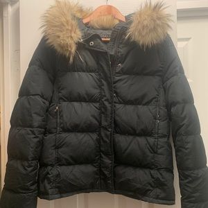 Theory winter jacket with fur trimmed hood